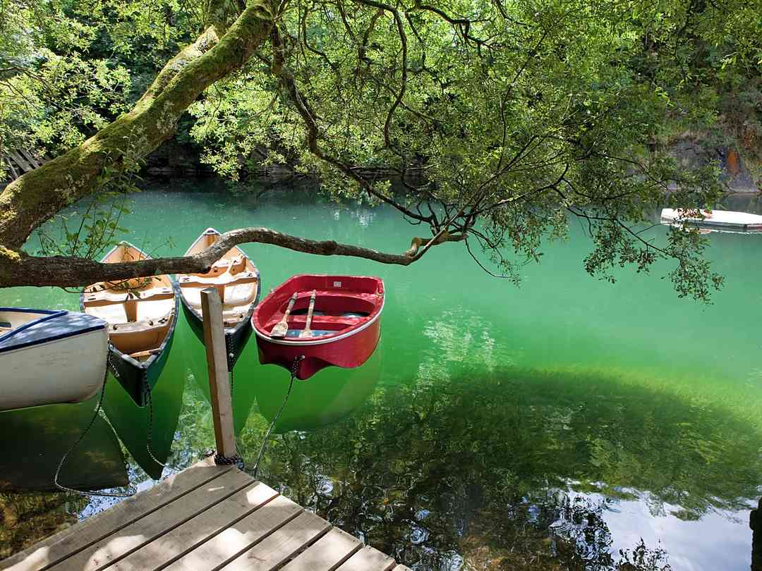 Cornish Tipi Holidays: Luminous lake with row boats and canoes that can be used by guests