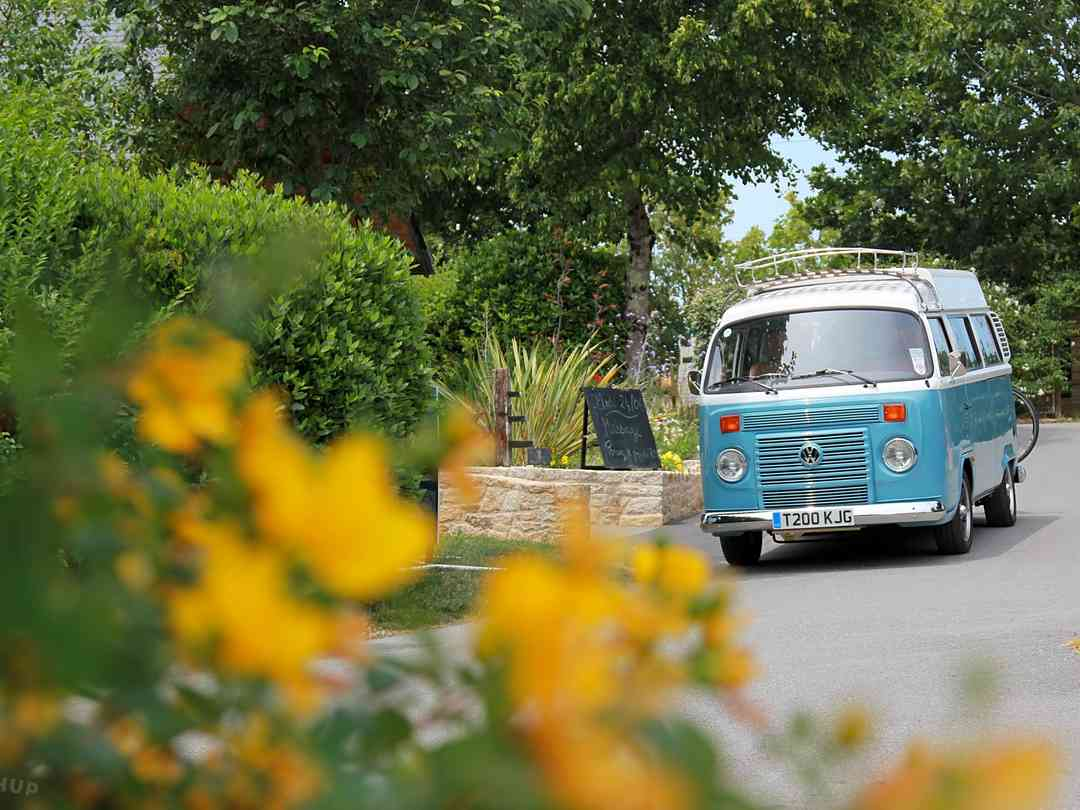 VW camper arriving