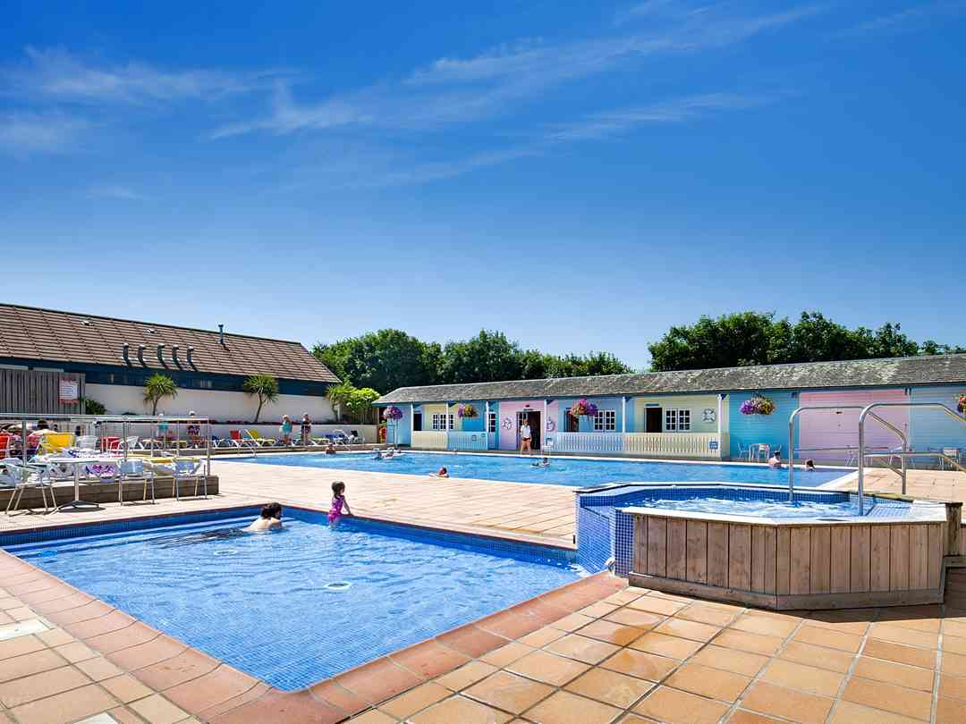 Outdoor heated swimming pool, Jacuzzi and toddler pool