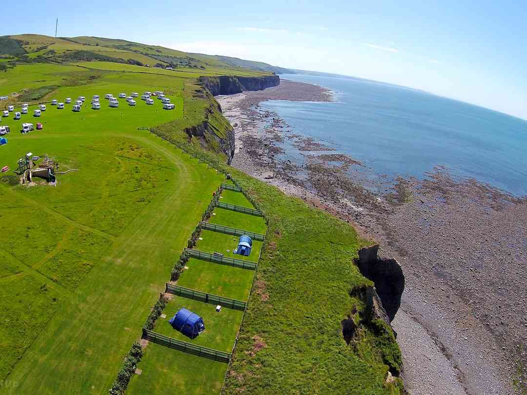 Morfa Bychan Holiday Park: looking south, over the non electric pitches towards the seasonal pitches