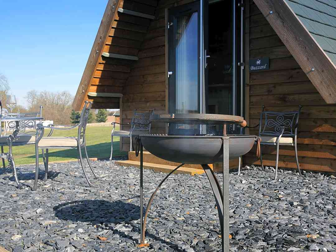 Firepit, barbecue and outdoor furniture