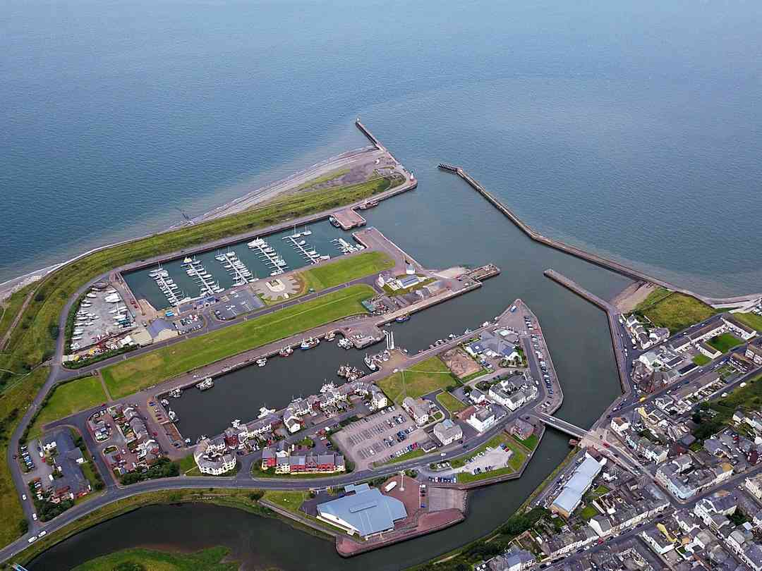 Harbourside Caravan Site: Aerial view of Maryport