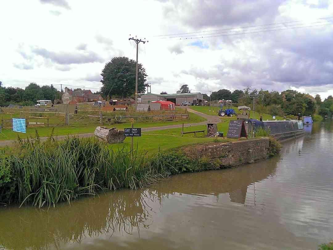 The campsite/farm from the canal towpath