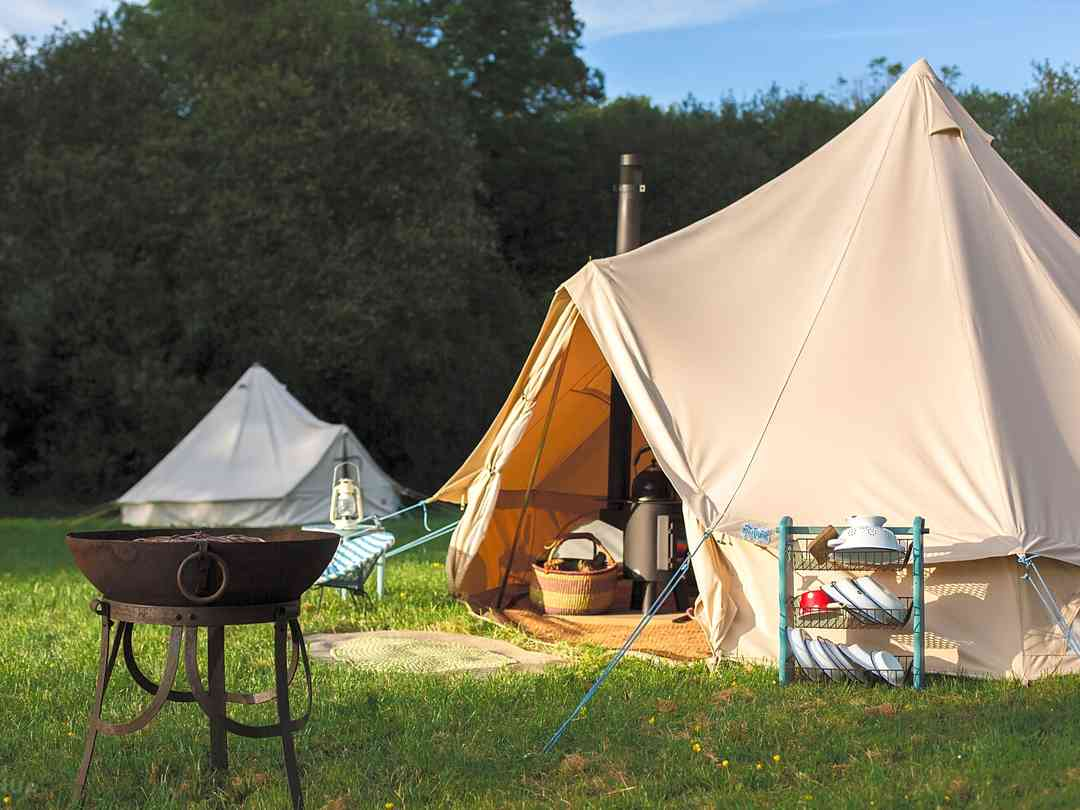 Three Hares Campsite: Bell tent in the last evening sun
