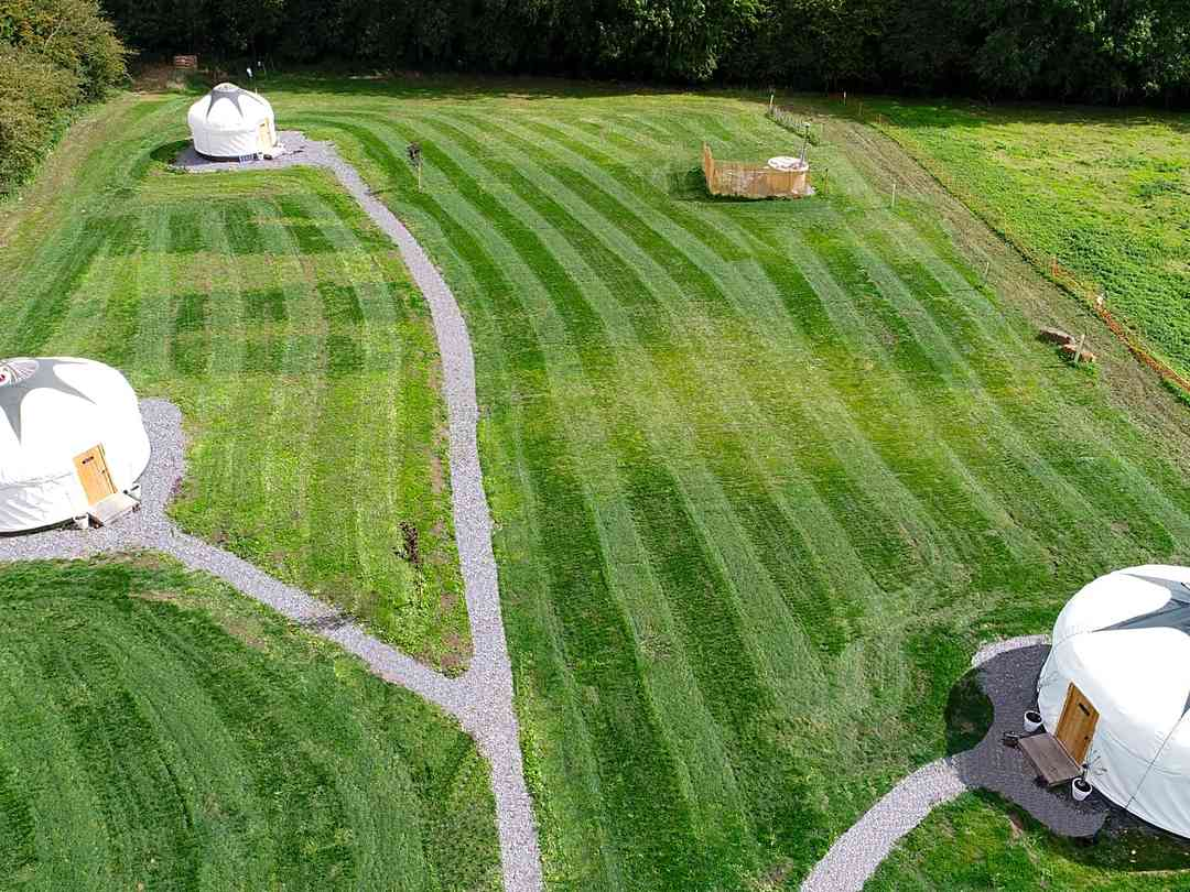 Country Bumpkin Yurts: Aerial view of the site