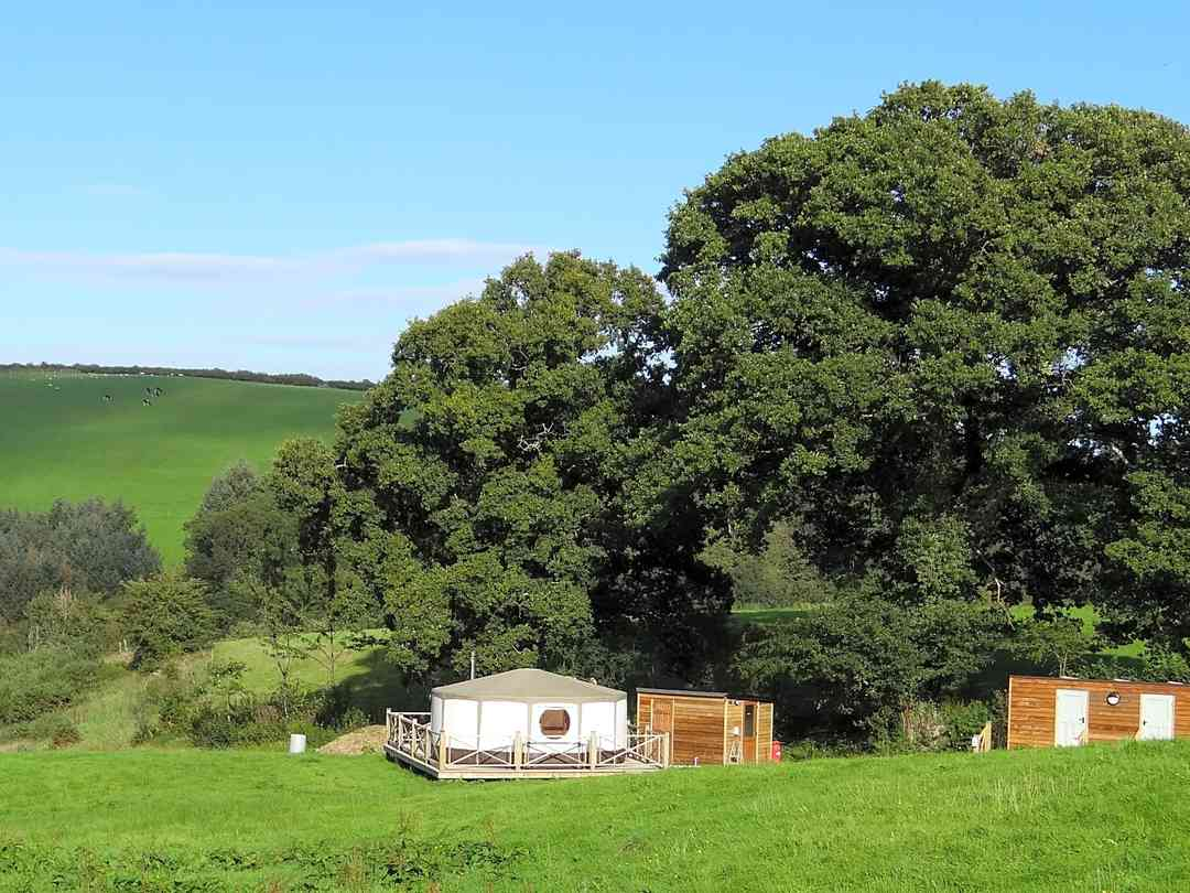 Allercombe Farm Glamping: View from the top of the site