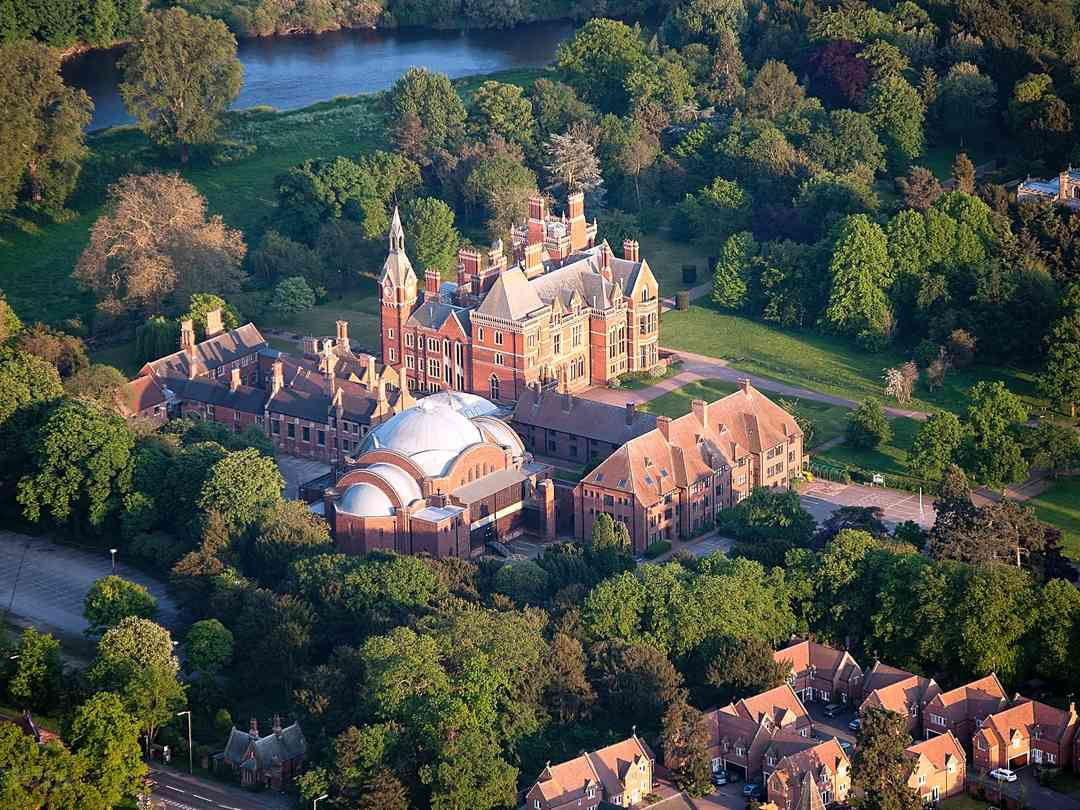 Aerial photo showing the hall, St Wilfrid's Church to the top right and the River Trent
