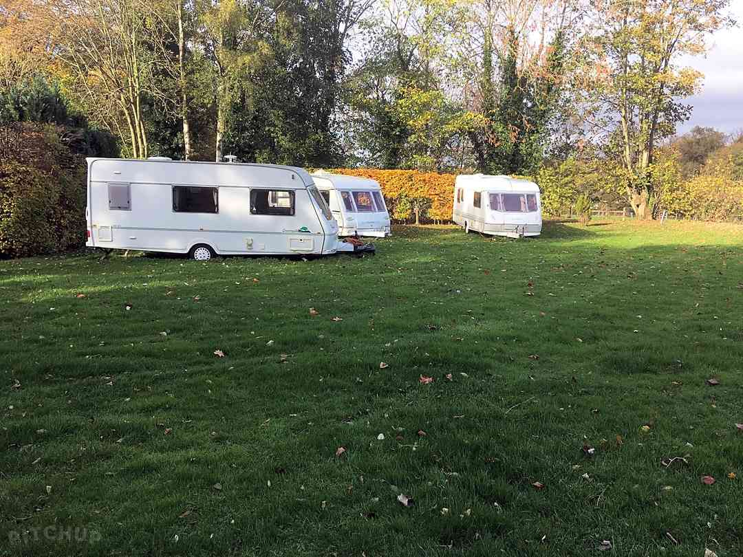 Caravans parked in the field