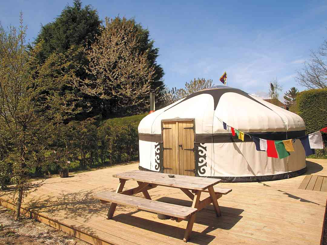 Yurt with picnic table