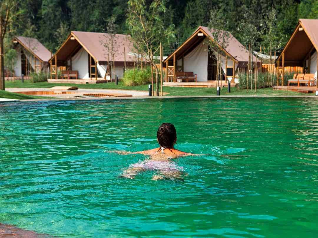 Herbal Glamping Resort: Natural swimming pool