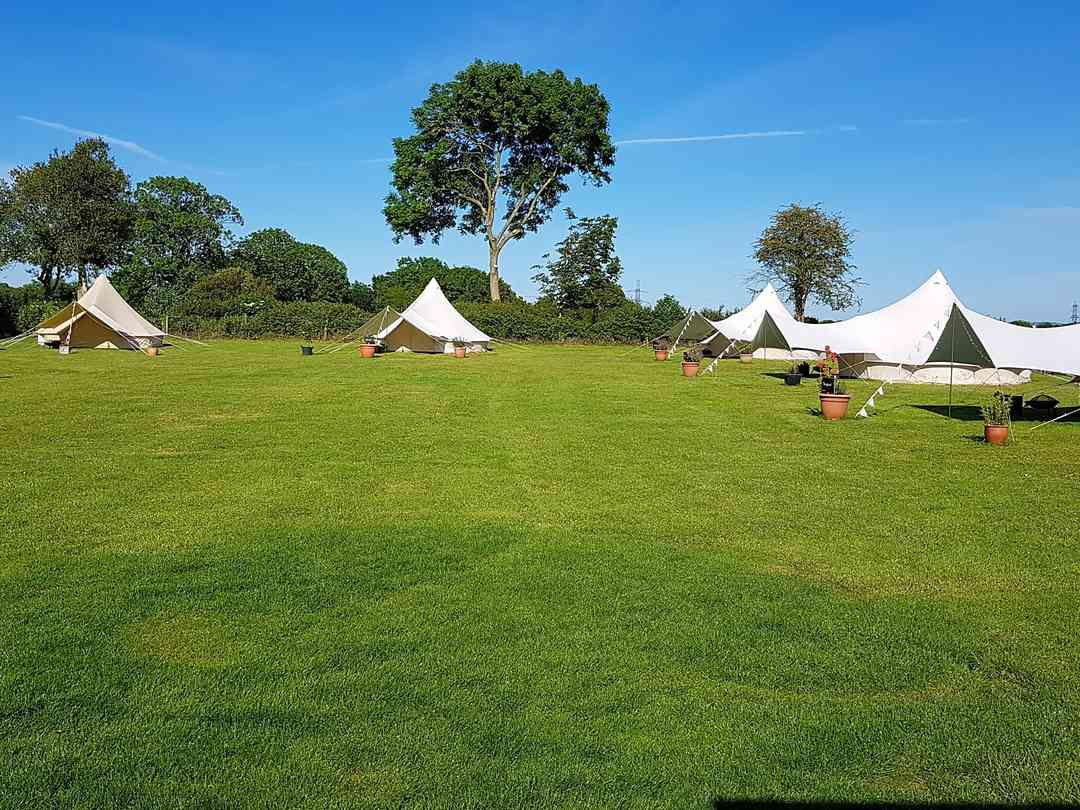 Higher Lewell Farmhouse: The camping field with all 5 bell tents and yurt for children to play in