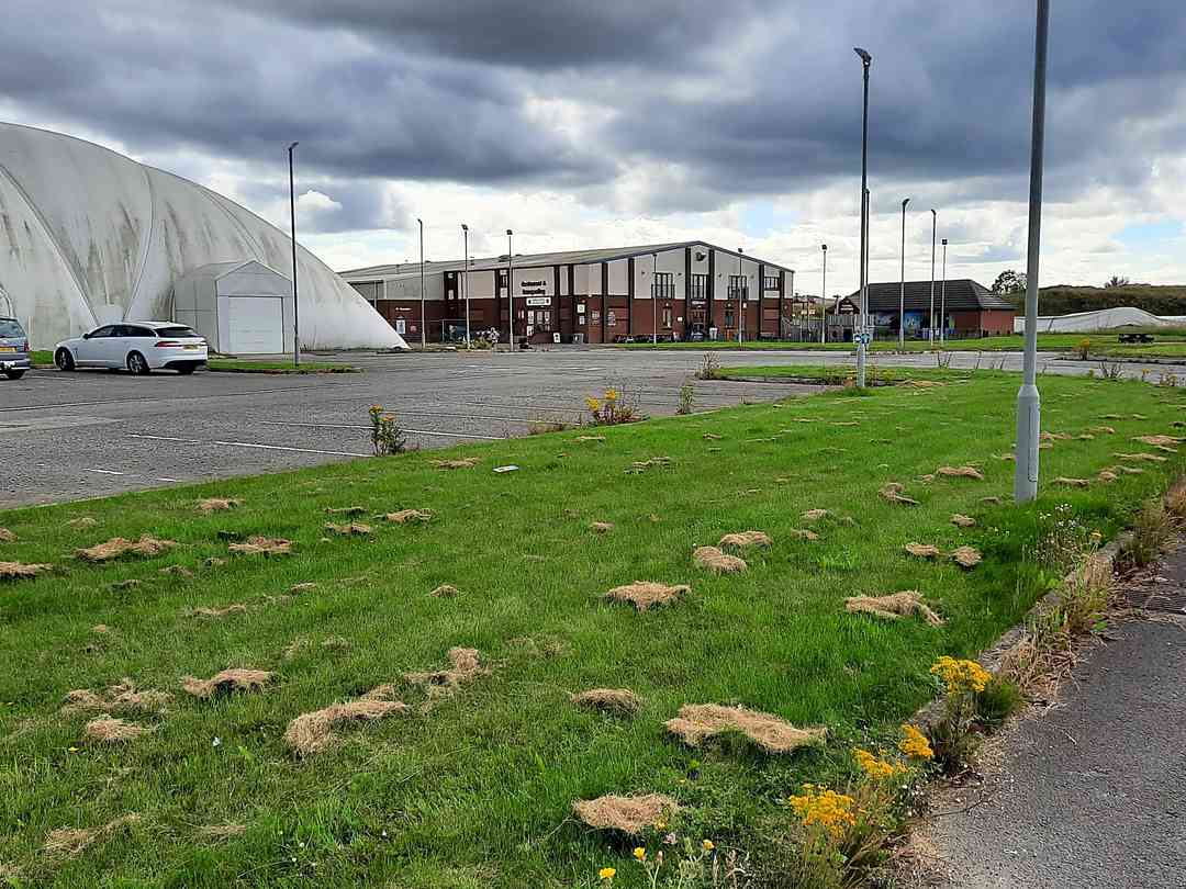 Hardstanding pitches next to the Mayfair Centre's bar, coffee shop and golf dome