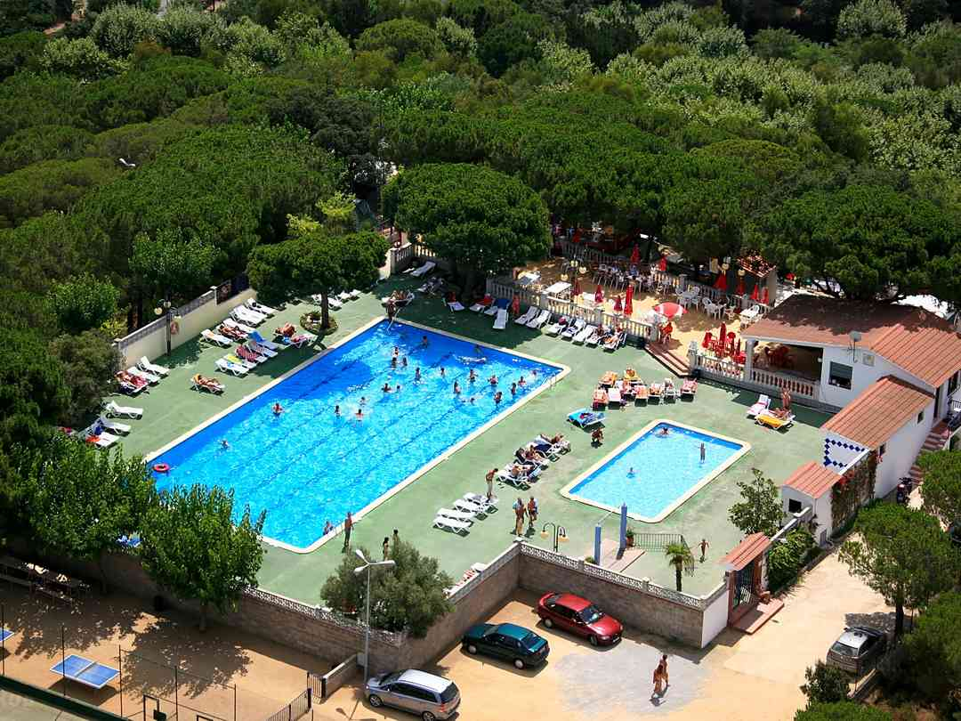 Aerial view of the swimming pools