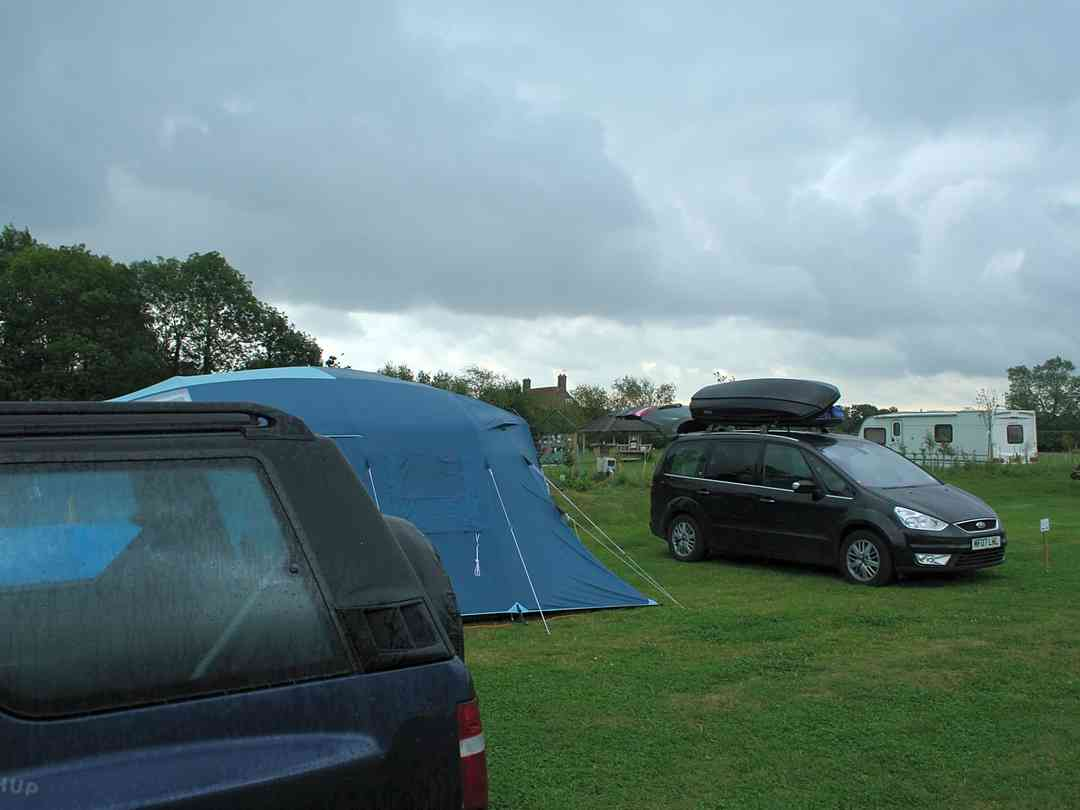 View over the camping field and the electric pitches
