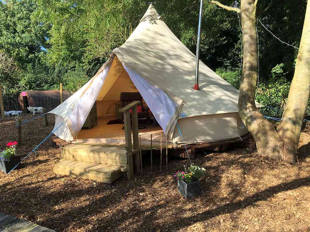 Five-metre bell tent on a wooden deck