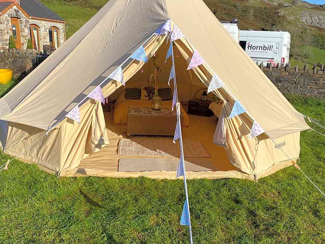 Cae Glas Camping: Bell tent on a sunny day