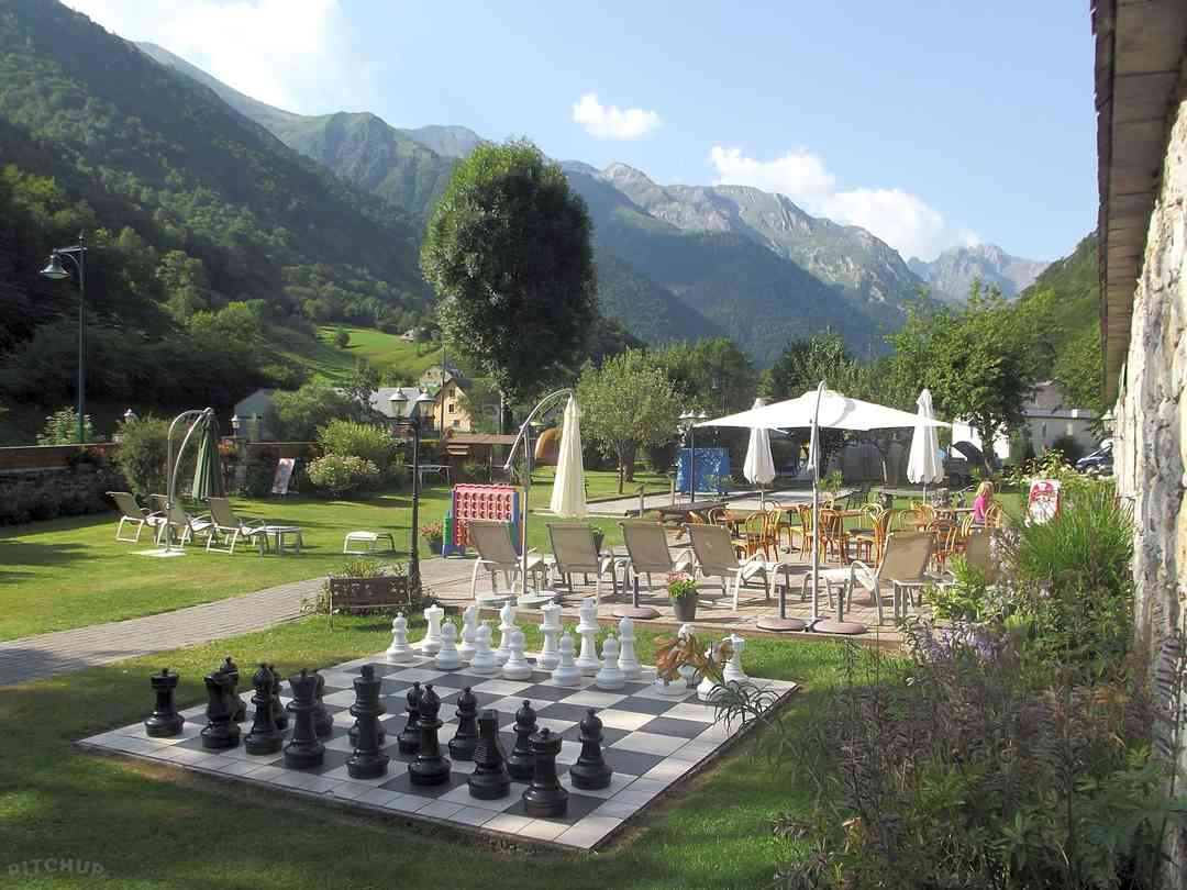 Try the giant chessboard or enjoy the view over the terrace