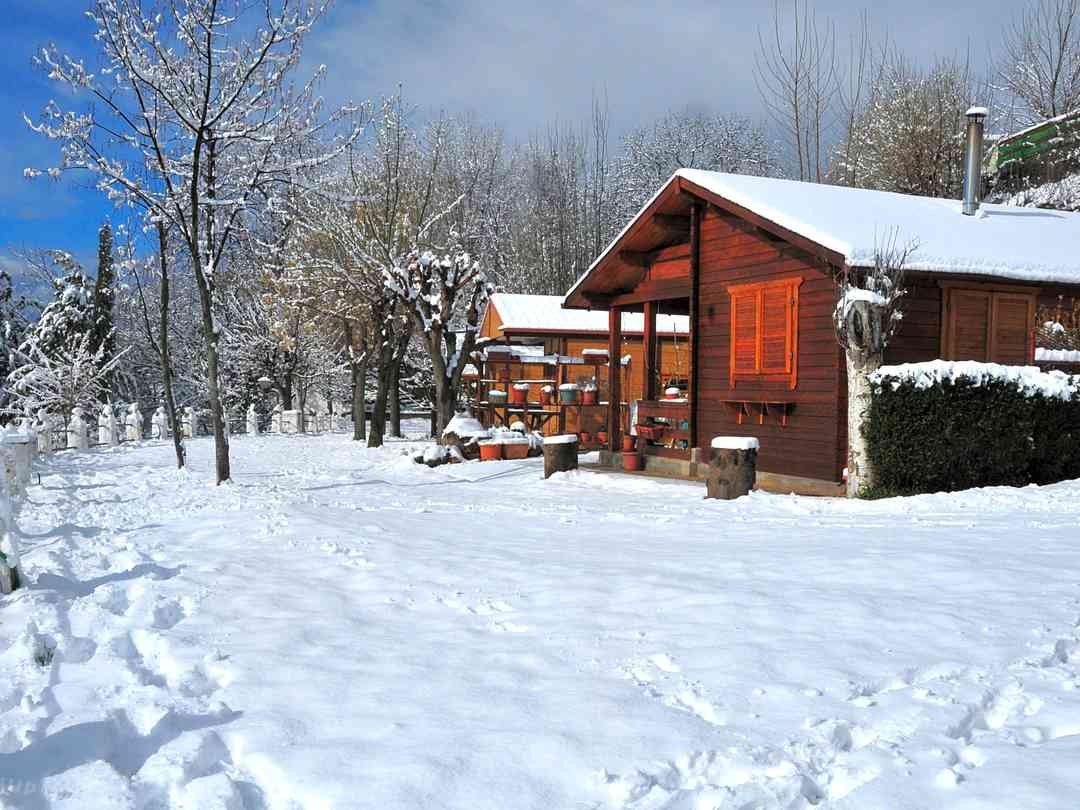 Wooden cabins stay cosy in winter