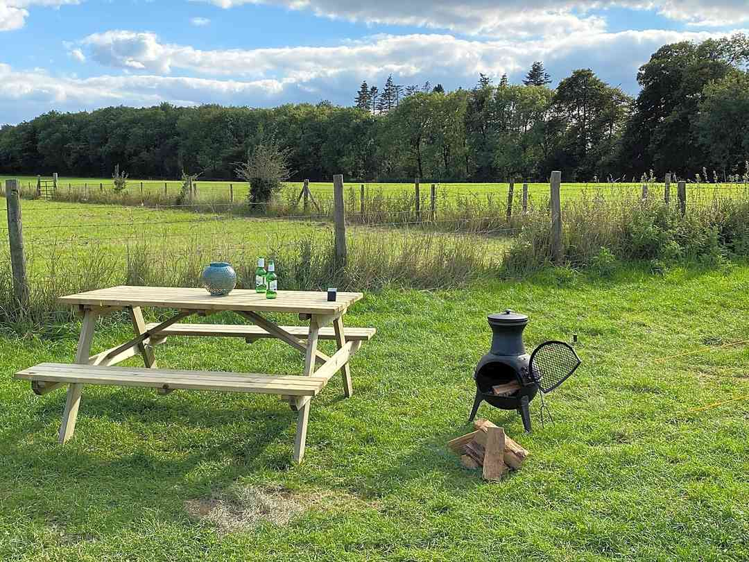 Chiminea and picnic bench
