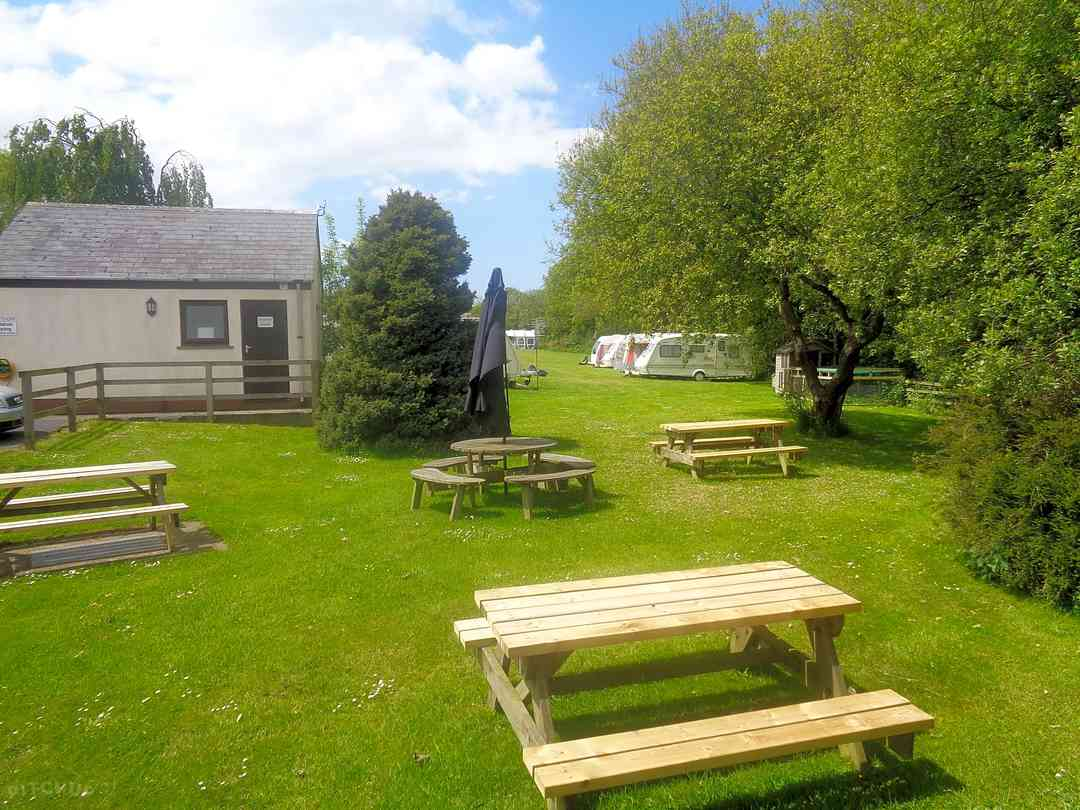 The Rising Sun Touring Caravan Park and Campsite: Beer garden