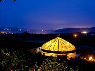 Mulroy yurt by night with view over Lough Swilly