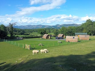 Overview of the site with views of the Clwydian Range (AONB) in the distance