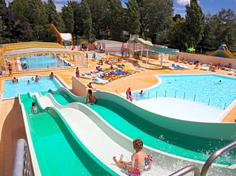 Heated and covered pool, sloping pool, water slides, hot tubs.