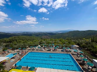 Tuscany hills and view of the swimming pool