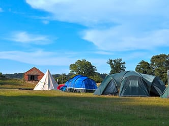 Camping in the lower field
