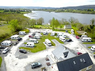 An aerial shot of Lough Arrow Touring Park with views across the bay.