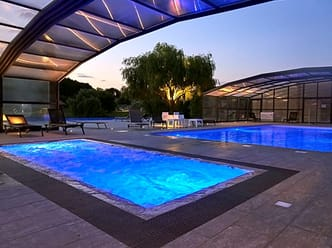 Outdoor pool in the evening