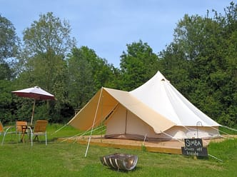 Large bell tent with plenty of outside space to relax in