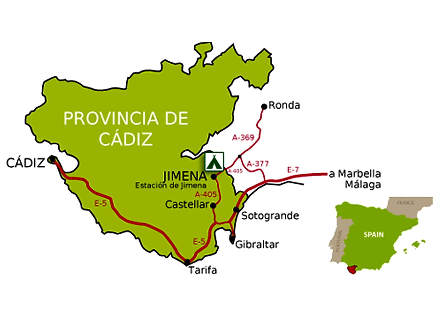 Karte Andalusien Cadiz.Camping Los Alcornocales Jimena De La Frontera Preise Für 2019