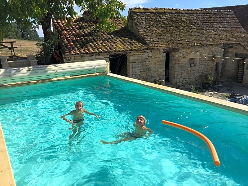 Heated swimming pool in the old courtyard