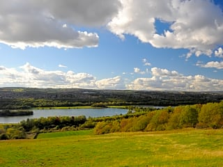 View from the play area over Rother Valley Country Park's lake