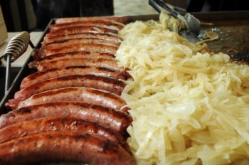 Sausages und sauerkraut. Far from the wurst dinner to have on a global food trip.
