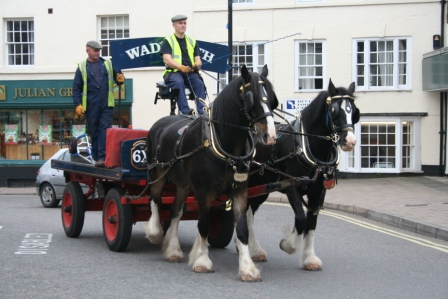 Wadworth shires Max and Monty on delivery in Devizes