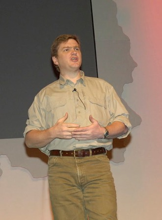 Ray Mears speaking at the Outdoors Show