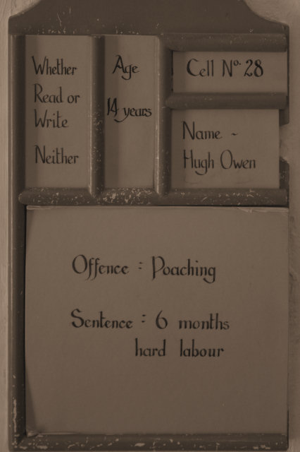 Offence chart at Beaumaris Gaol. Photo by Generalnoir (Flickr)