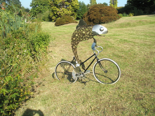Fish on a bicycle at RHS Wisley. Pic by Basher Eyre.