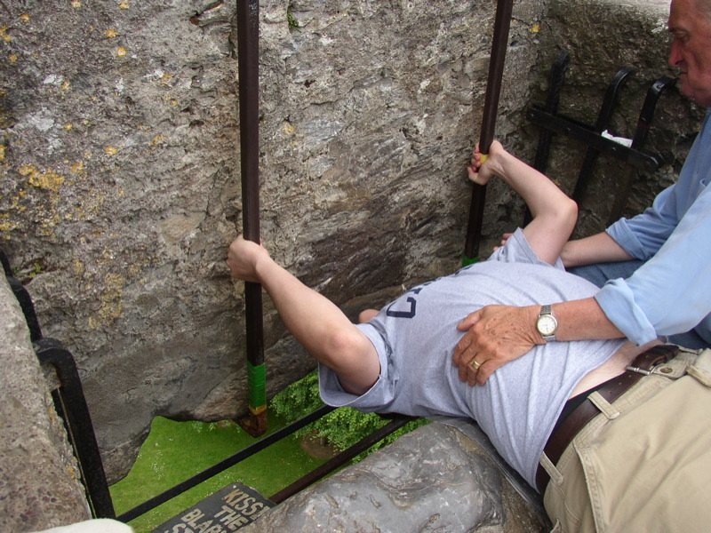 Kissing the Blarney Stone. Pic by Brian Rosner.