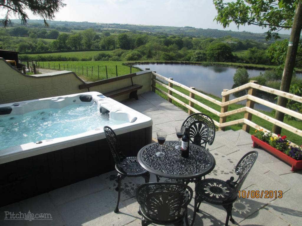 View from the hot tub at Cwmcoedog Farm, Ceredigion