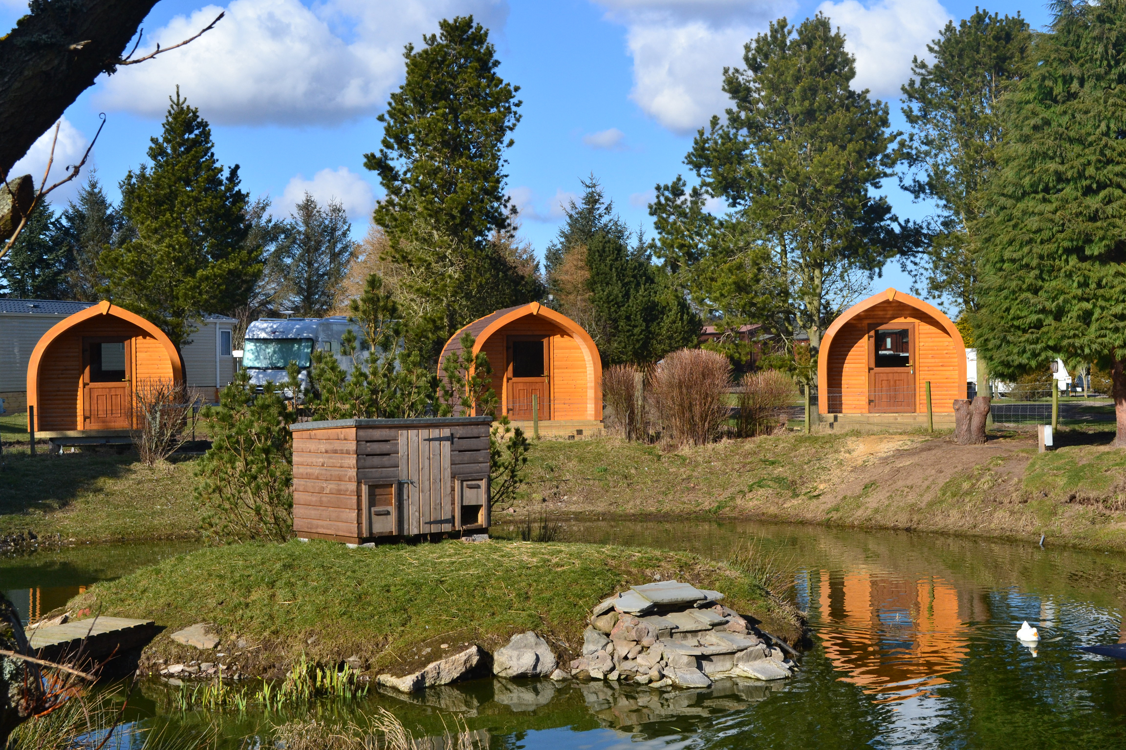 Camping pods at Deeside