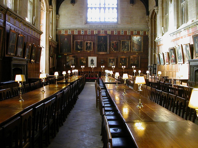 Dining hall at Christ Church, Oxford - inspiration for Hogwarts (courtesy nathanaels)