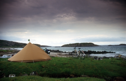 Camper awaiting amphibious bicycle on the Isle of Mull