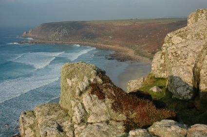 Cliffs and beach view at Sennen, Cornwall