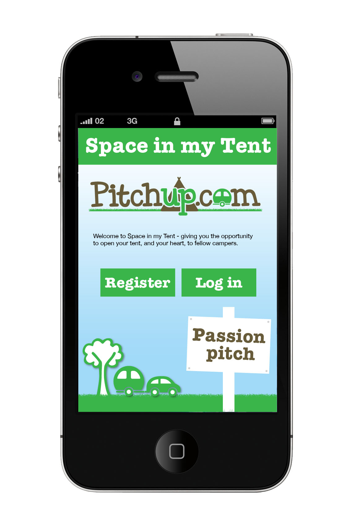 Screenshot of 'Space in my tent' app for iPhone
