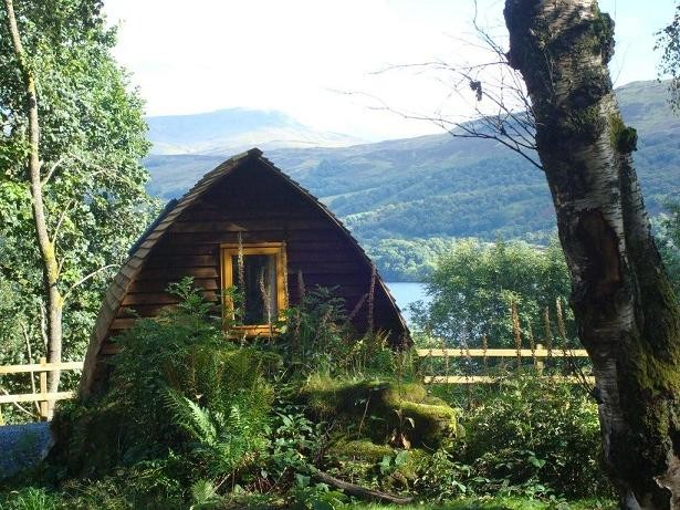 Wooden wigwams at Loch Tay
