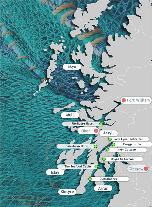 Scottish Seafood Trail map