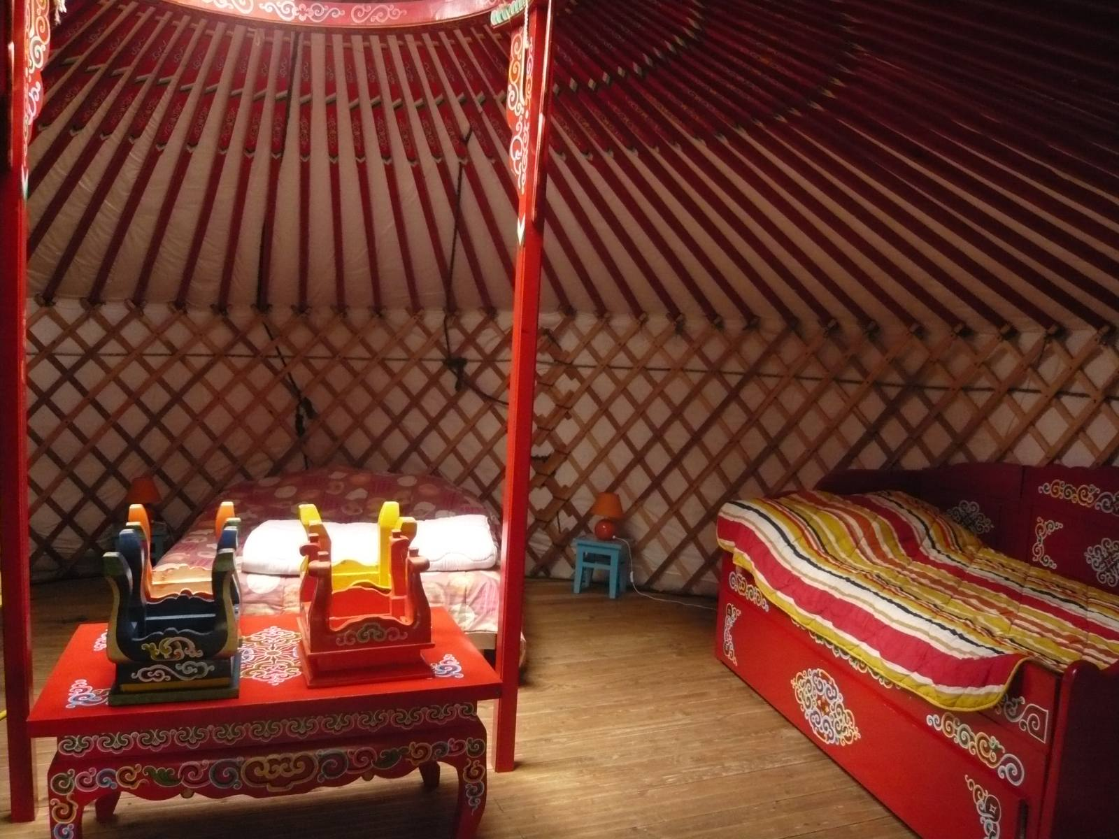 Inside a yurt at Village Insolite